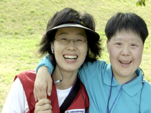 Volunteers with Aekwangwon, a centre for the disabled
